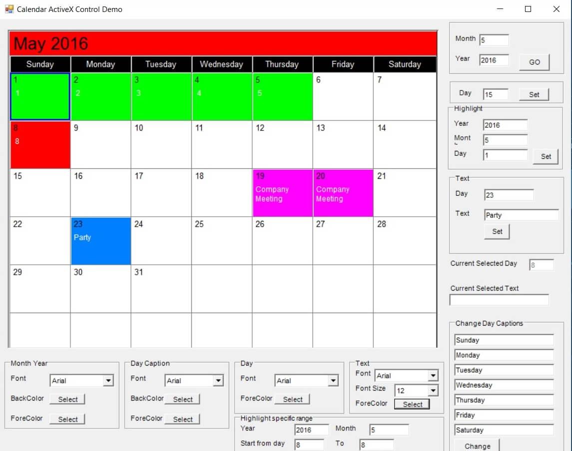 Monthly Calendar Visual Basic : Sample screenshot